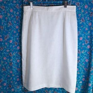 Vintage Linen-Look Woven Fully Lined Pencil Skirt